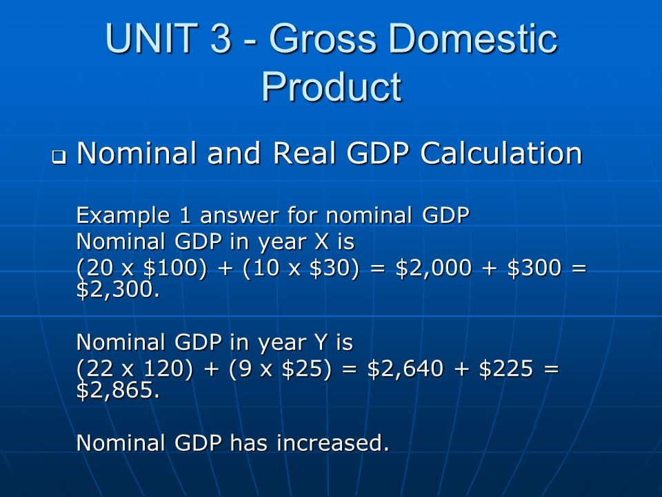 UNIT 3 - Gross Domestic Product