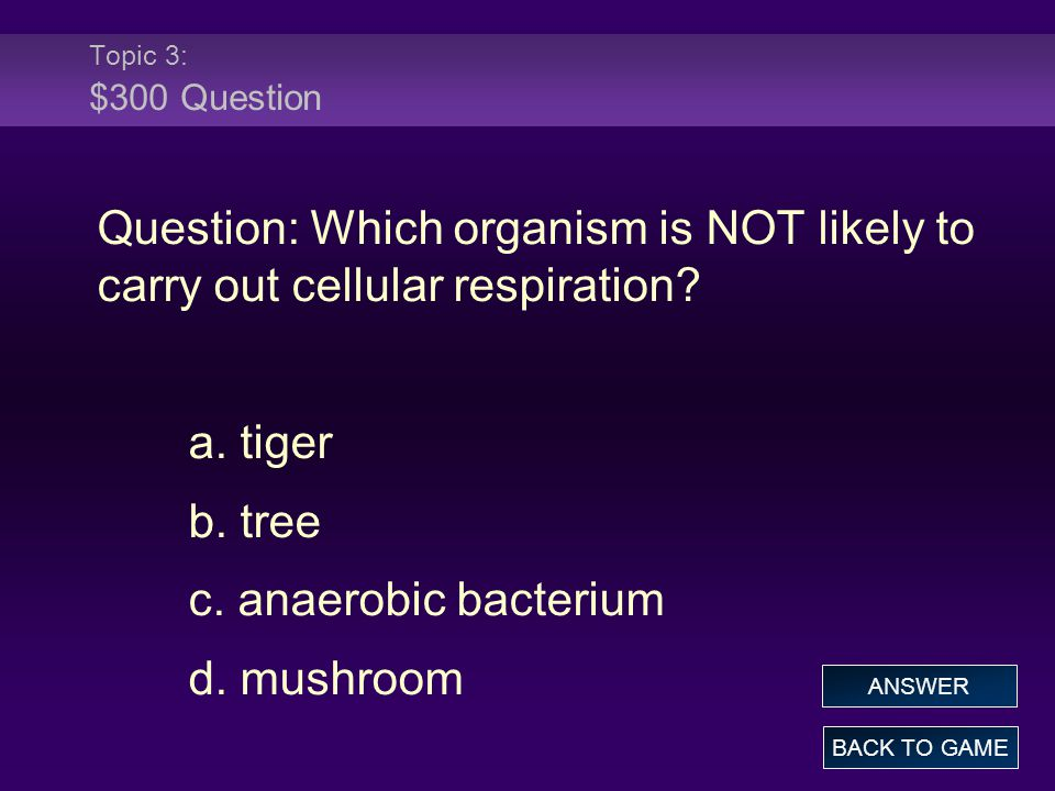 Topic 3: $300 Question Question: Which organism is NOT likely to carry out cellular respiration a. tiger.