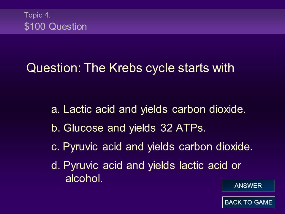 Question: The Krebs cycle starts with