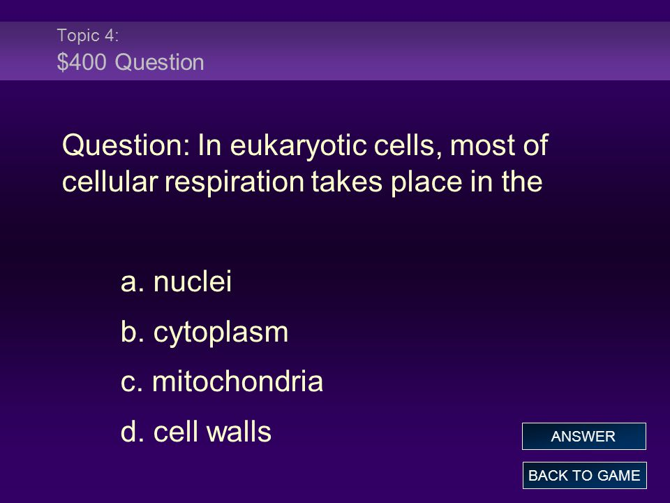 Topic 4: $400 Question Question: In eukaryotic cells, most of cellular respiration takes place in the.