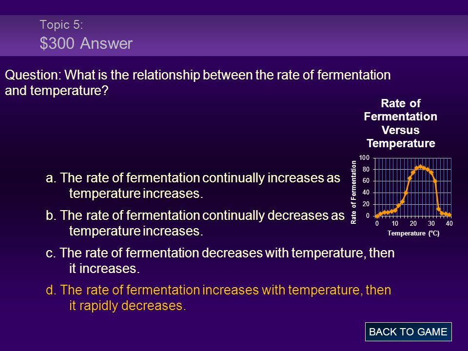 Topic 5: $300 Answer Question: What is the relationship between the rate of fermentation and temperature