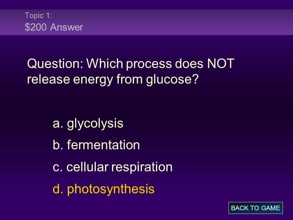 Question: Which process does NOT release energy from glucose