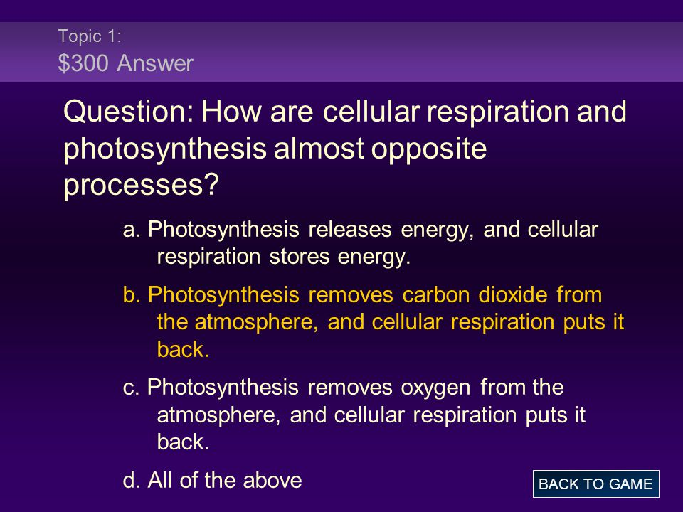 Topic 1: $300 Answer Question: How are cellular respiration and photosynthesis almost opposite processes