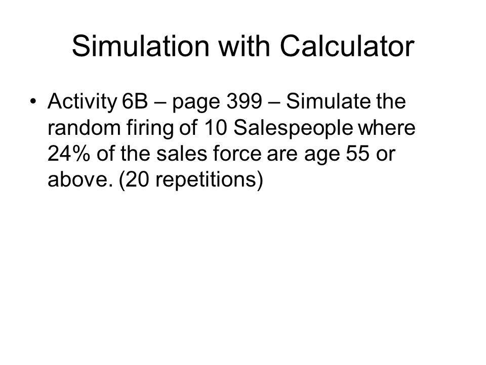 Simulation with Calculator