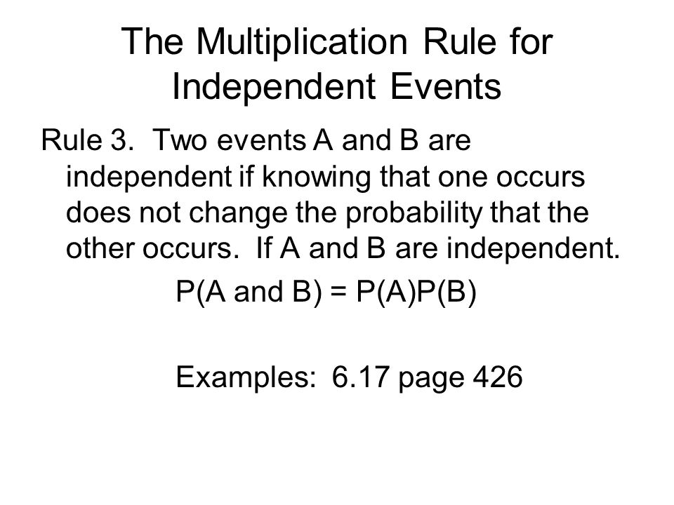 The Multiplication Rule for Independent Events