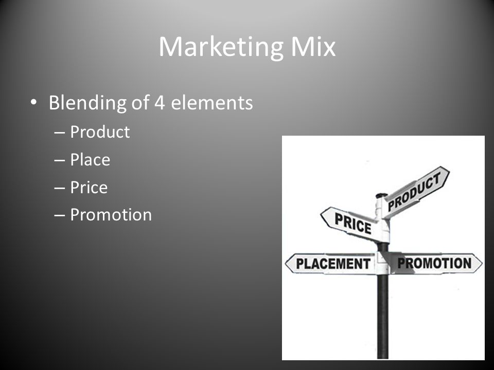Marketing Mix Blending of 4 elements Product Place Price Promotion