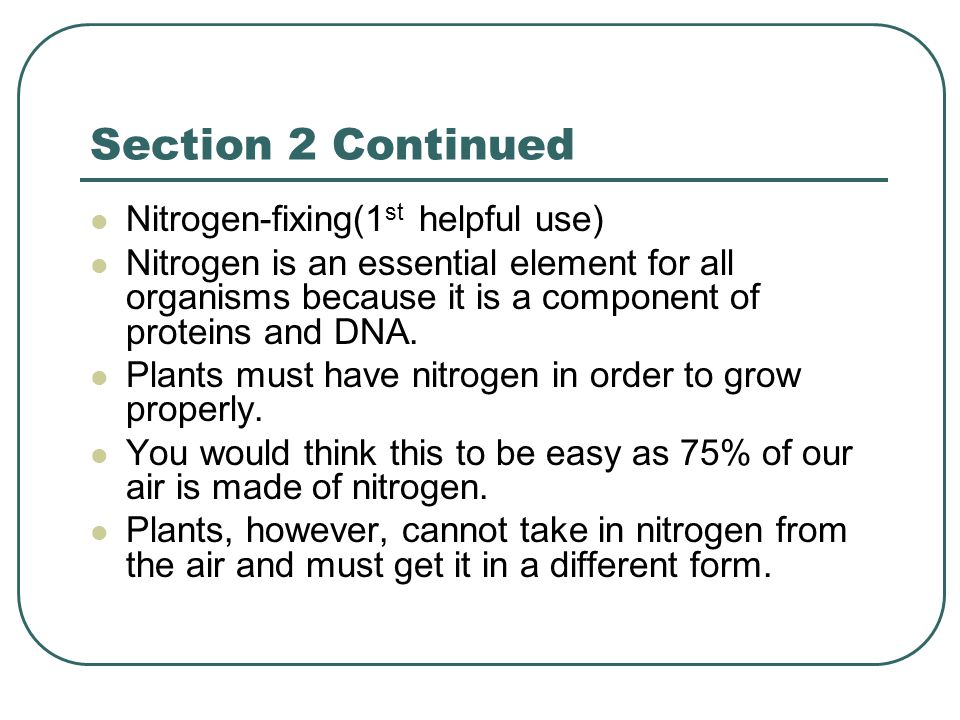 Section 2 Continued Nitrogen-fixing(1st helpful use)