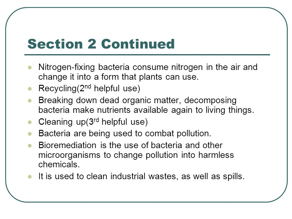 Section 2 Continued Nitrogen-fixing bacteria consume nitrogen in the air and change it into a form that plants can use.