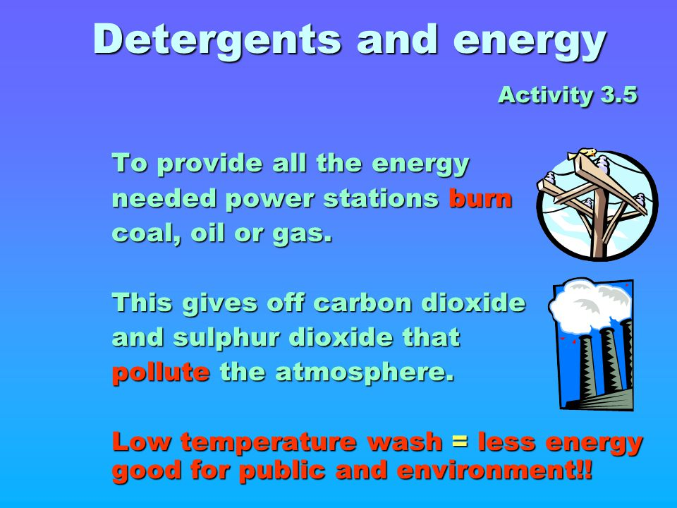 Detergents and energy Activity 3.5