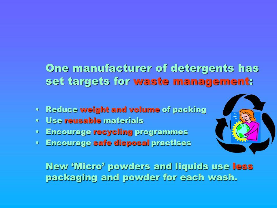 One manufacturer of detergents has set targets for waste management: