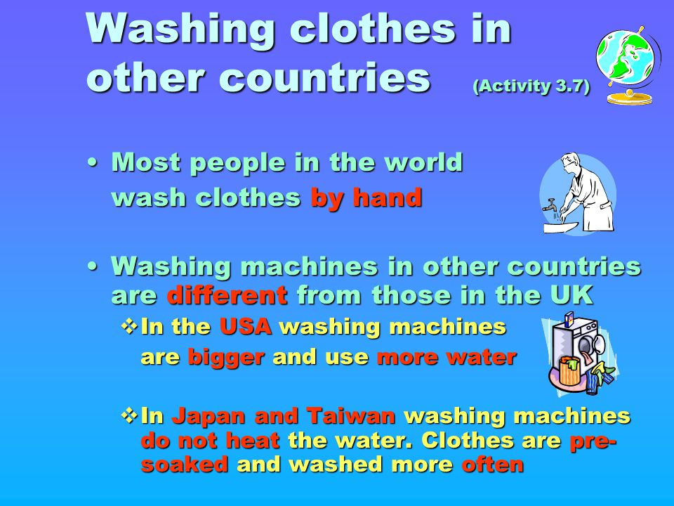 Washing clothes in other countries (Activity 3.7)