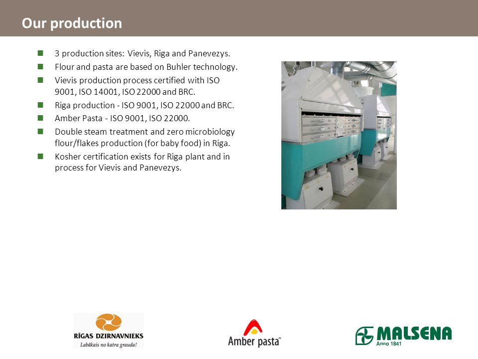 Our production 3 production sites: Vievis, Riga and Panevezys.