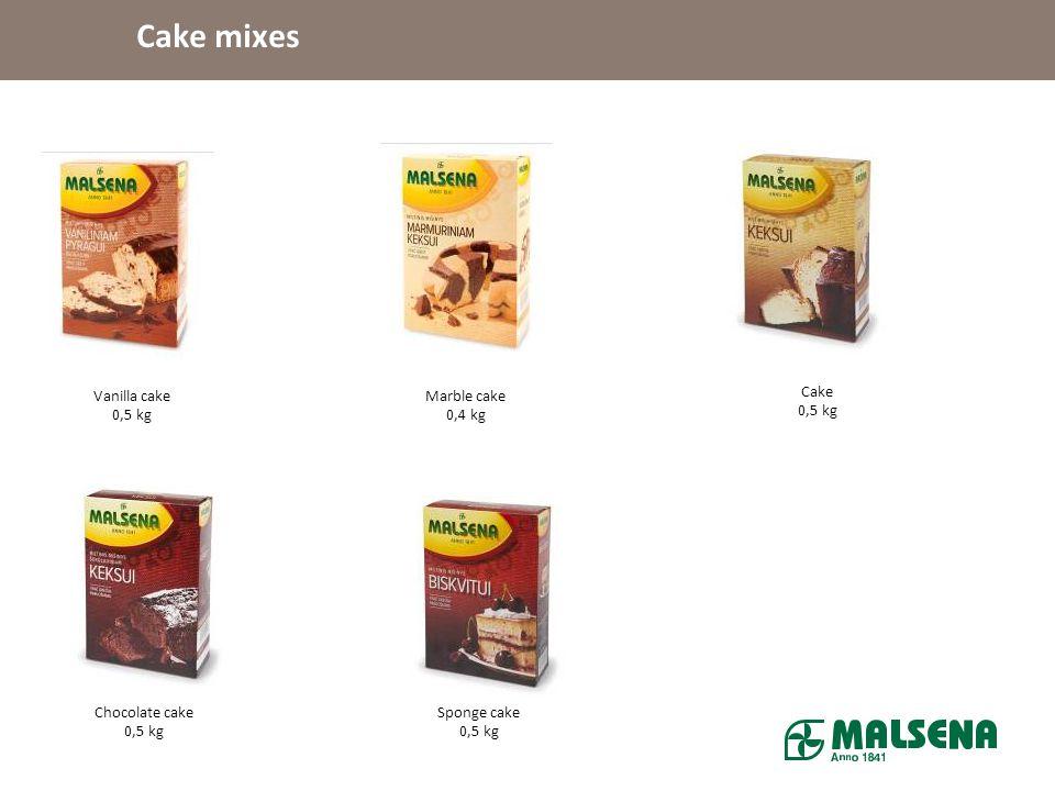 Cake mixes Vanilla cake 0,5 kg Marble cake 0,4 kg Cake 0,5 kg
