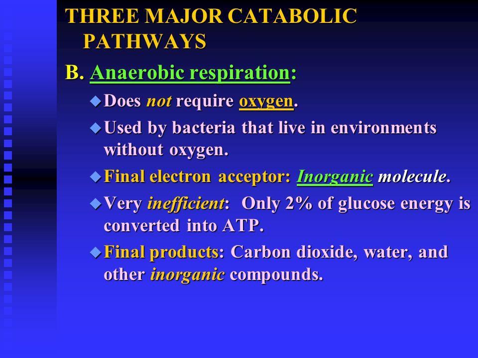 THREE MAJOR CATABOLIC PATHWAYS B. Anaerobic respiration: