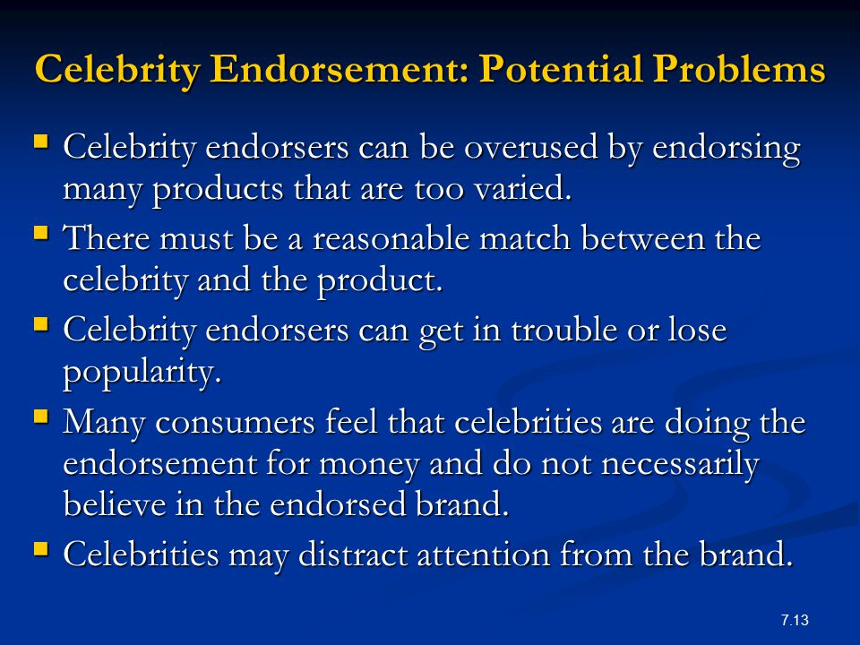 Celebrity Endorsement: Potential Problems