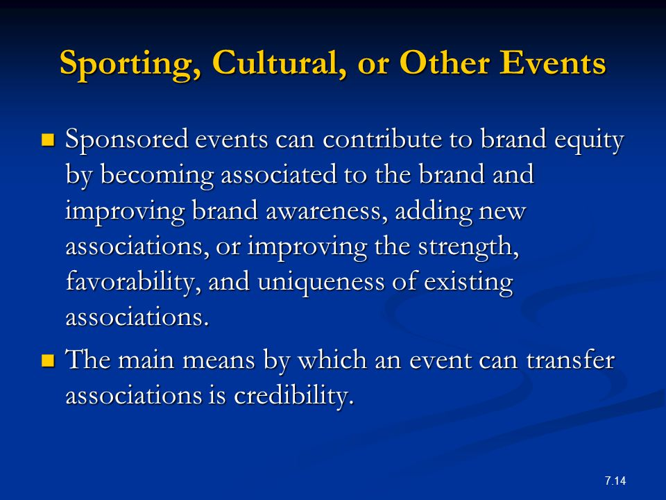 Sporting, Cultural, or Other Events