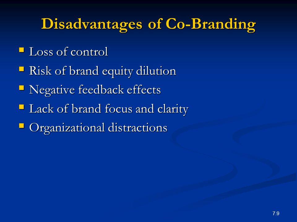 Disadvantages of Co-Branding