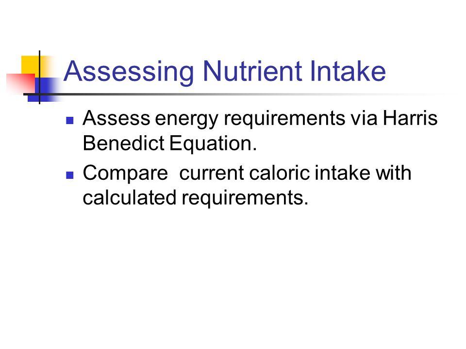 Assessing Nutrient Intake