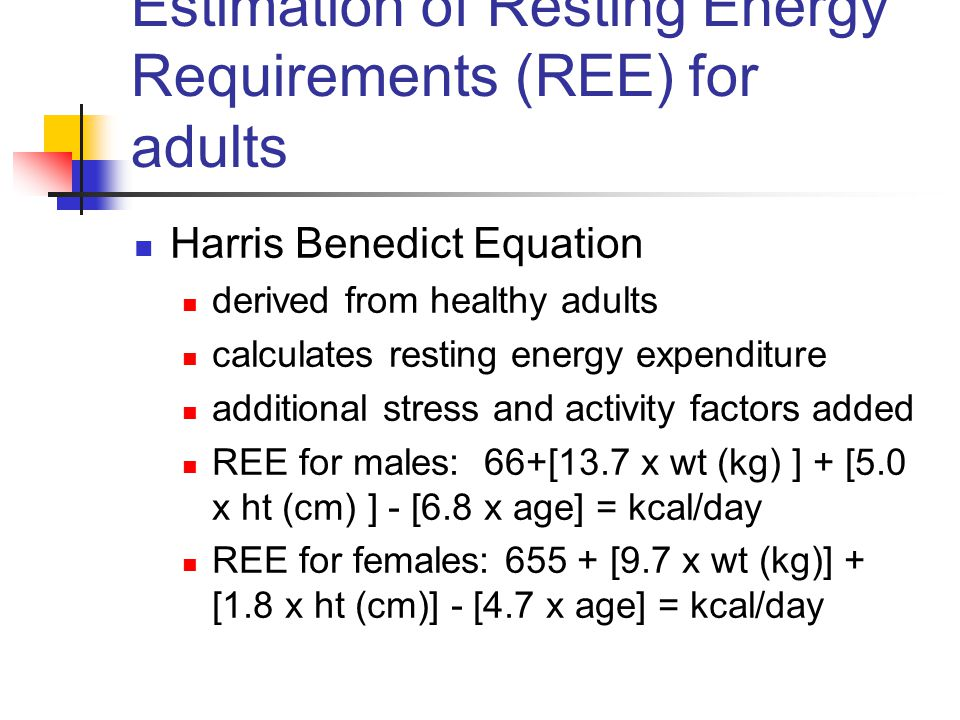 Estimation of Resting Energy Requirements (REE) for adults