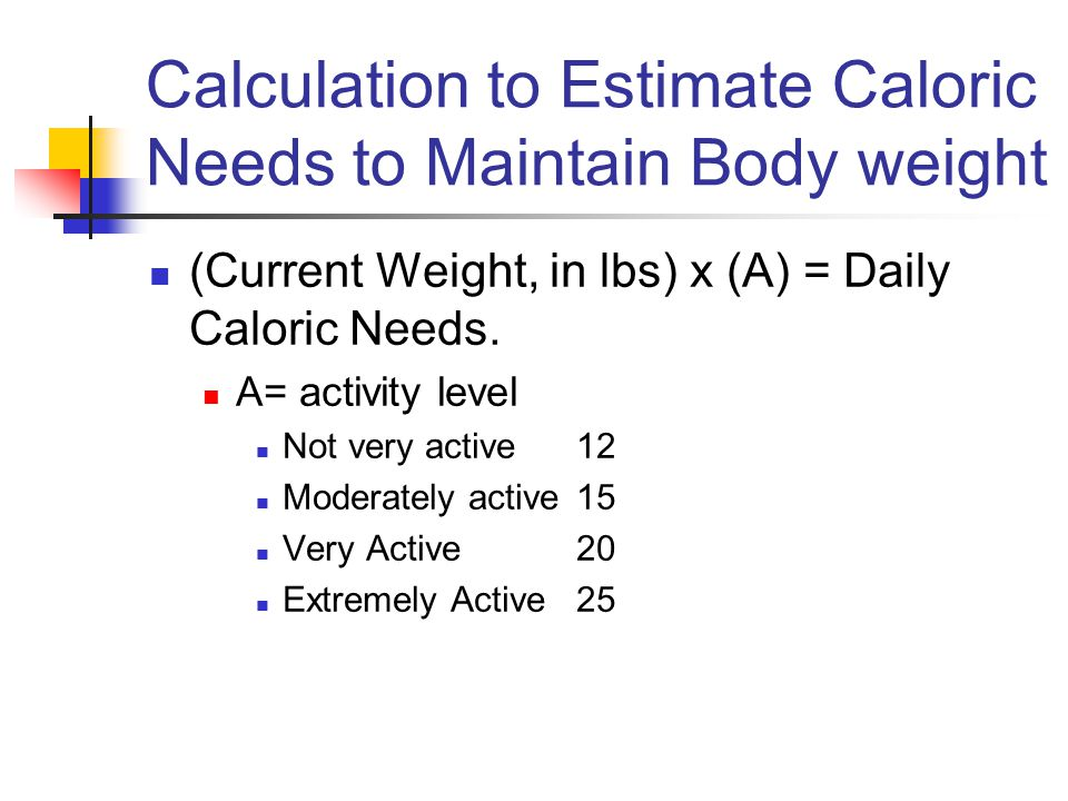 Calculation to Estimate Caloric Needs to Maintain Body weight