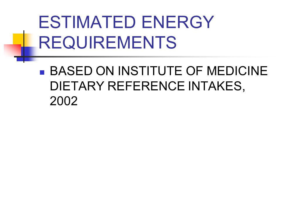 ESTIMATED ENERGY REQUIREMENTS