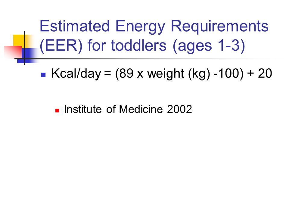 Estimated Energy Requirements (EER) for toddlers (ages 1-3)