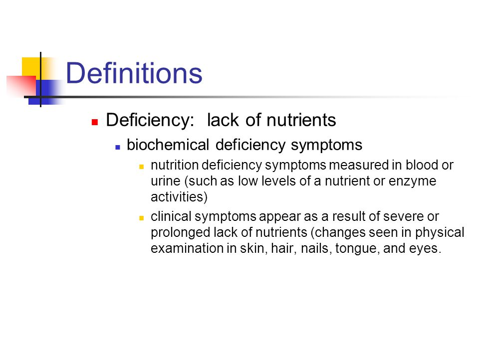 Definitions Deficiency: lack of nutrients