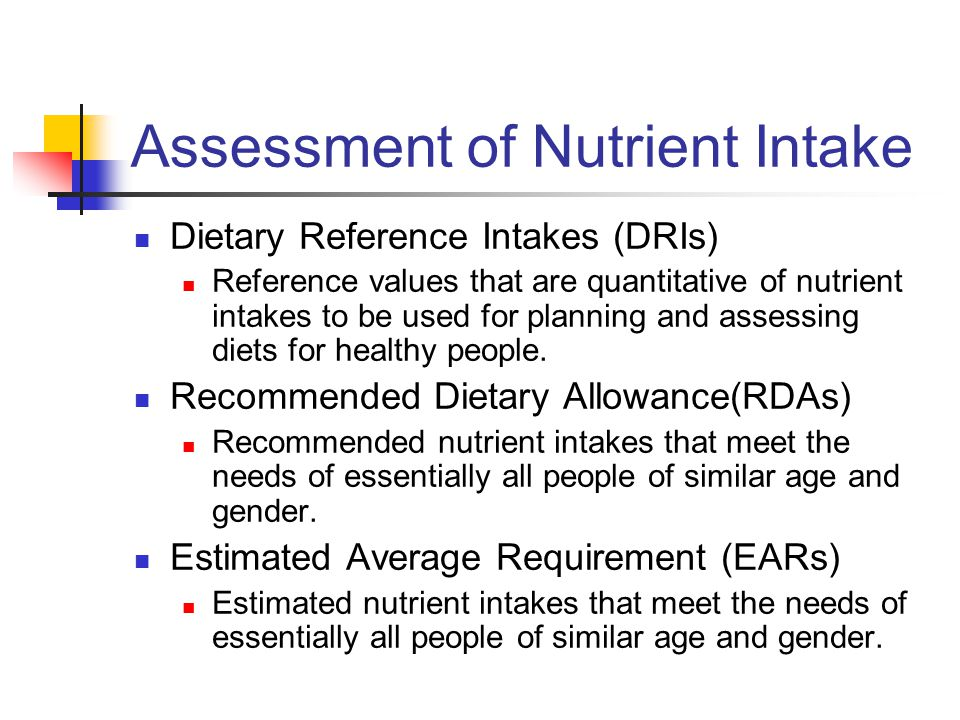 Assessment of Nutrient Intake