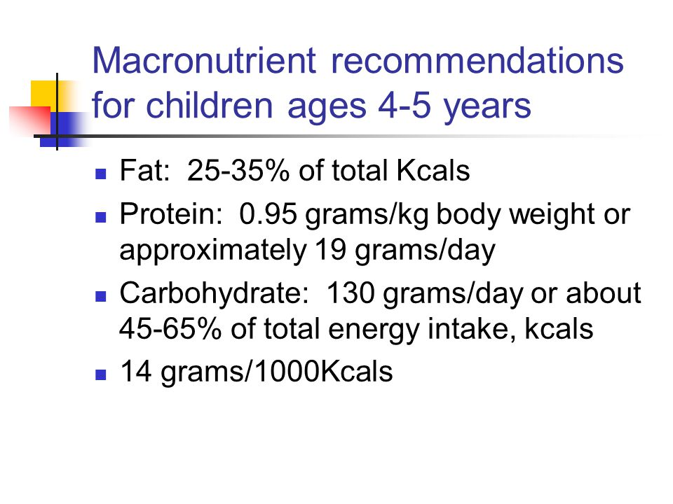 Macronutrient recommendations for children ages 4-5 years