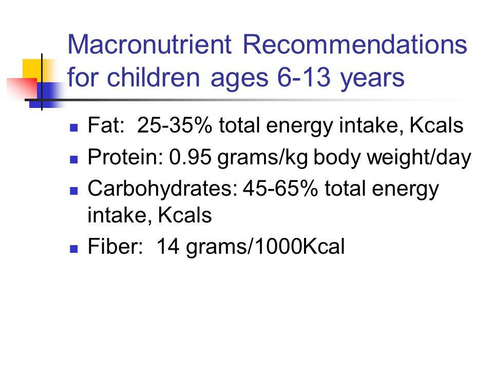 Macronutrient Recommendations for children ages 6-13 years