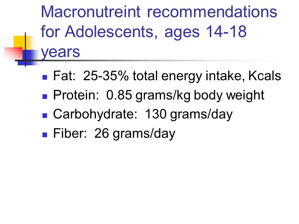 Macronutreint recommendations for Adolescents, ages 14-18 years