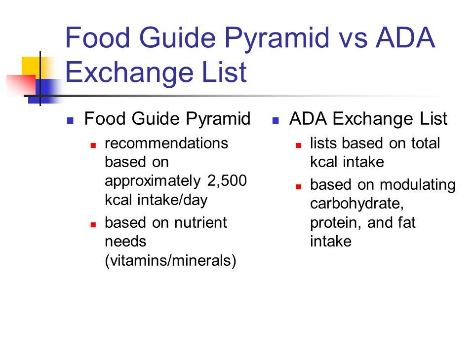 Food Guide Pyramid vs ADA Exchange List