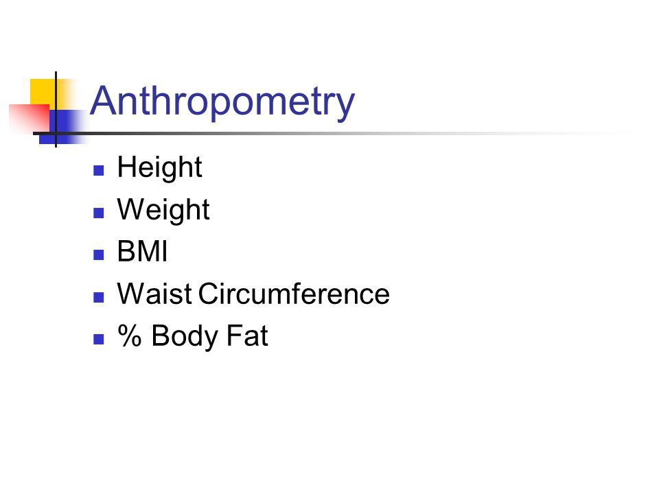 Anthropometry Height Weight BMI Waist Circumference % Body Fat