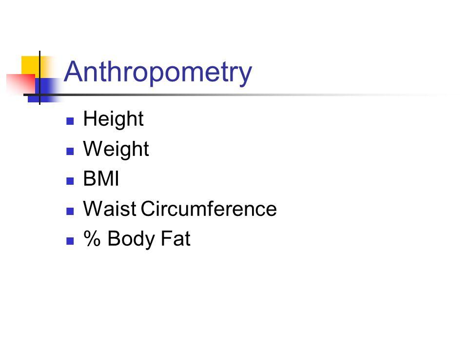 Anthropometry Height Weight BMI Waist Circumference % Body Fat