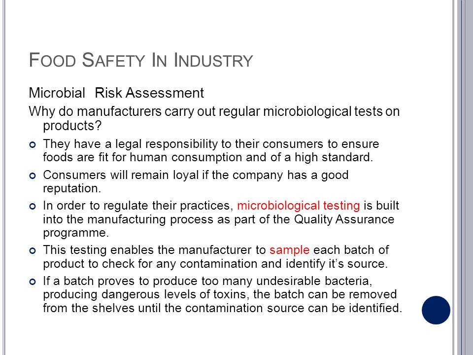 Food Safety In Industry