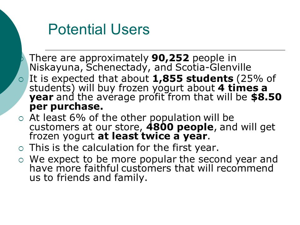 Potential Users There are approximately 90,252 people in Niskayuna, Schenectady, and Scotia-Glenville.
