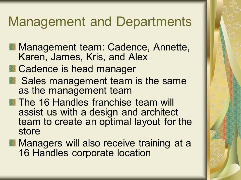 Management and Departments