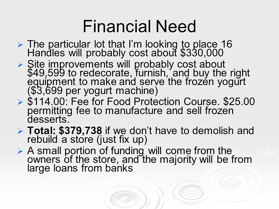 Financial Need The particular lot that I'm looking to place 16 Handles will probably cost about $330,000.