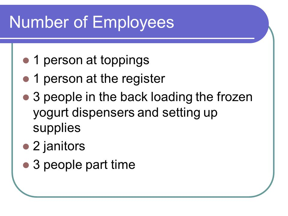 Number of Employees 1 person at toppings 1 person at the register