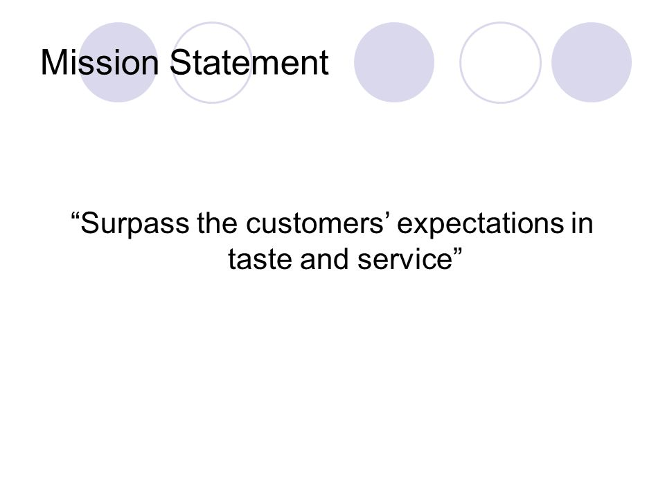 Surpass the customers' expectations in taste and service