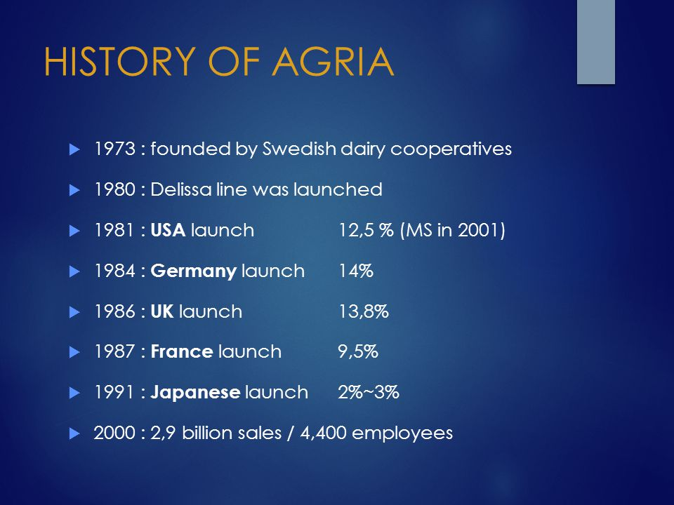 HISTORY OF AGRIA 1973 : founded by Swedish dairy cooperatives