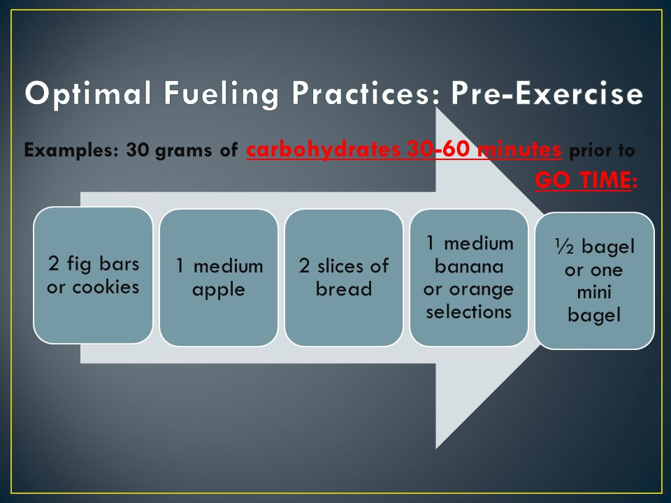 Optimal Fueling Practices: Pre-Exercise