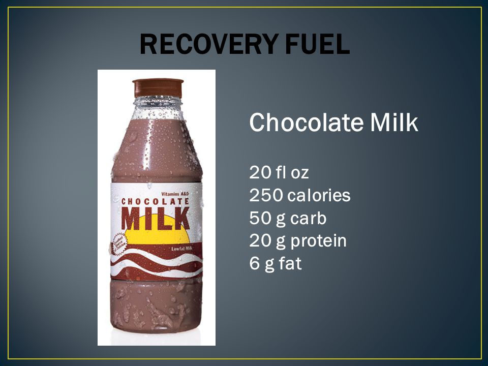 Recovery Fuel Chocolate Milk 20 fl oz 250 calories 50 g carb