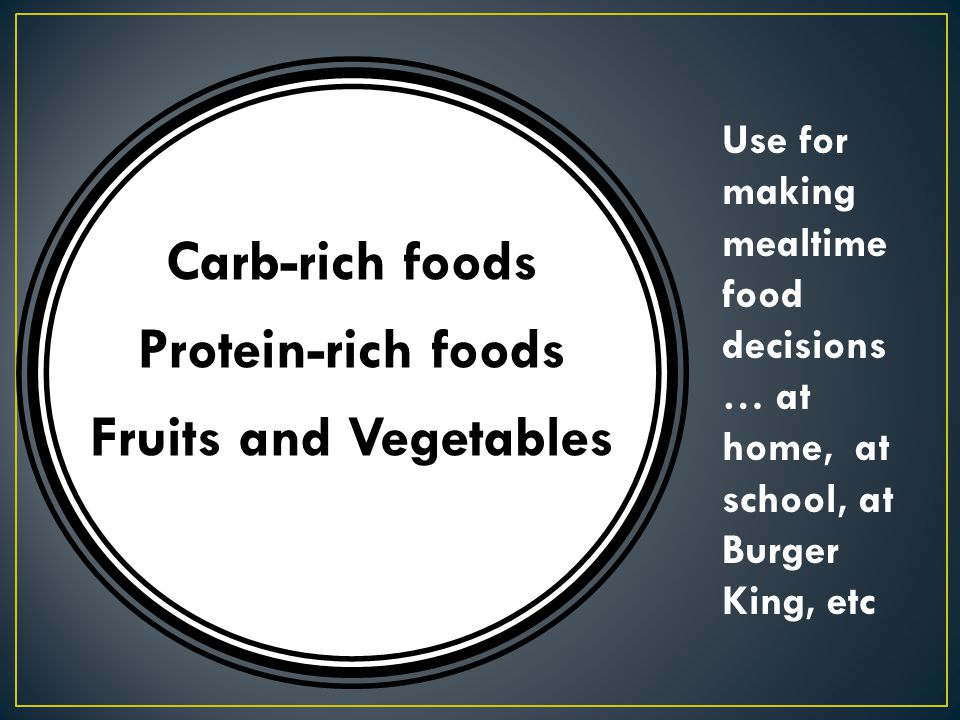 Carb-rich foods Protein-rich foods Fruits and Vegetables