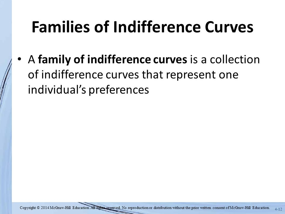 Families of Indifference Curves
