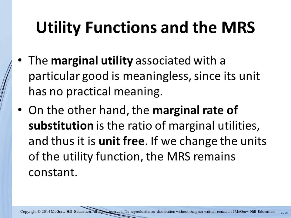Utility Functions and the MRS