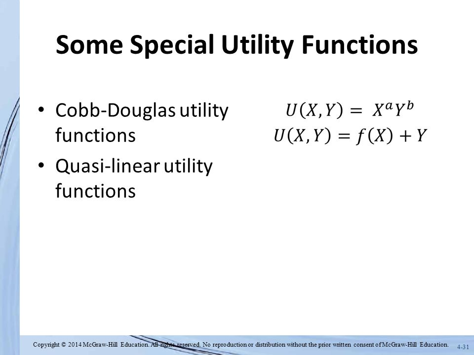 Some Special Utility Functions