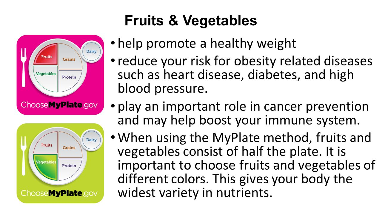 Fruits & Vegetables help promote a healthy weight.