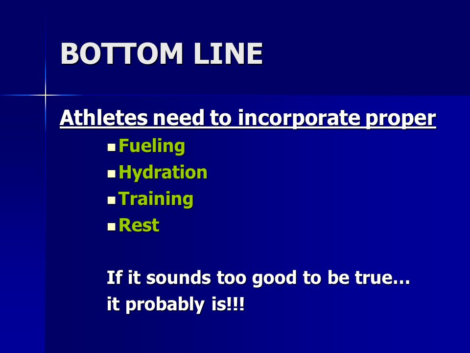 BOTTOM LINE Athletes need to incorporate proper Fueling Hydration