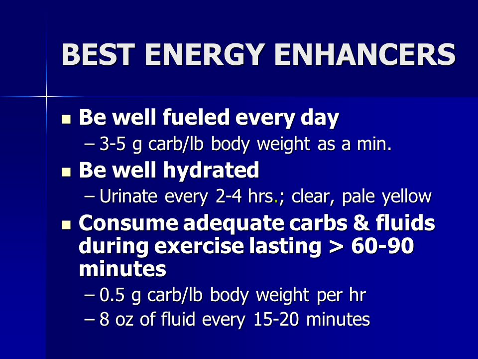 BEST ENERGY ENHANCERS Be well fueled every day Be well hydrated